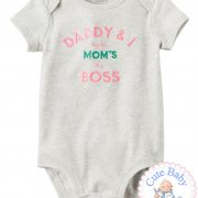 "Body Bebe Carters Manga Curta ""Mom's the Boss"""